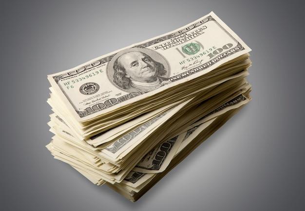 Pilha de dinheiro em fundo branco isolado