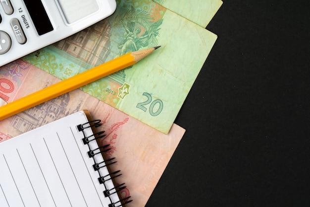 Pilha de dinheiro hryvnia ucraniano close-up