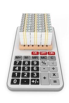 Pilha de dinheiro sobre a calculadora em um fundo branco. renderização 3d
