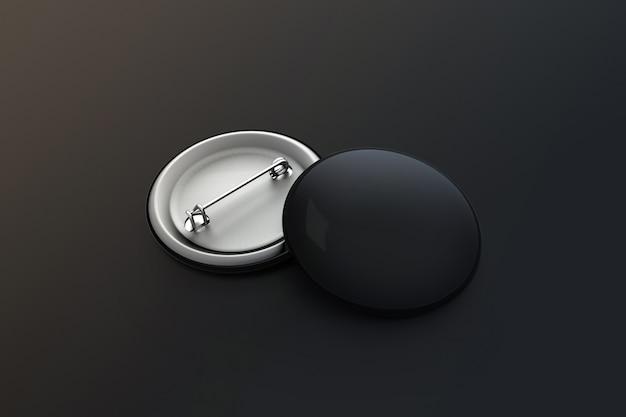 Pilha de distintivo de botão preto em branco