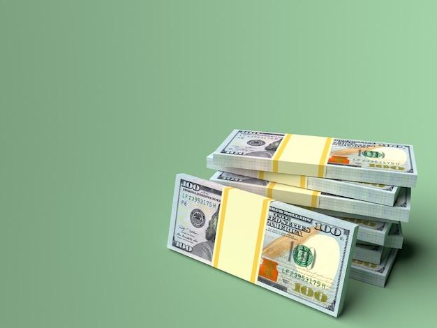 Pilha de dólares em dinheiro com fundo cinza verde em branco financeiro