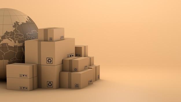 Pilha de embalagens de caixa marrom para mercadorias