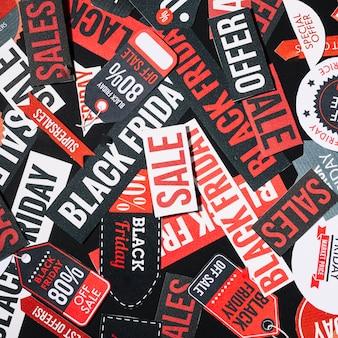 Pilha de etiquetas coloridas de sexta-feira negra