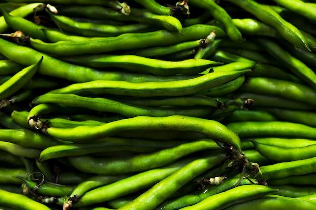 Pilha de feijão verde vista superior