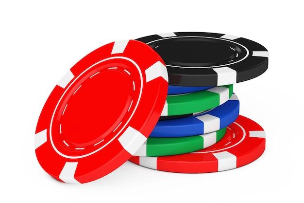 Pilha de fichas de cassino de pôquer coloridas em um fundo branco. renderização 3d.