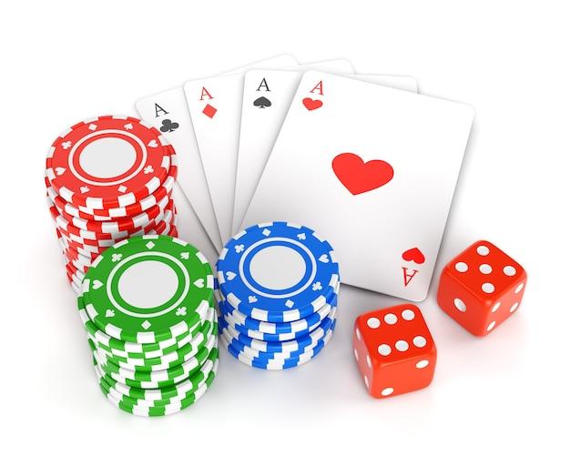 Pilha de fichas de jogo, cartas de jogar e dois dados isolados no fundo branco.