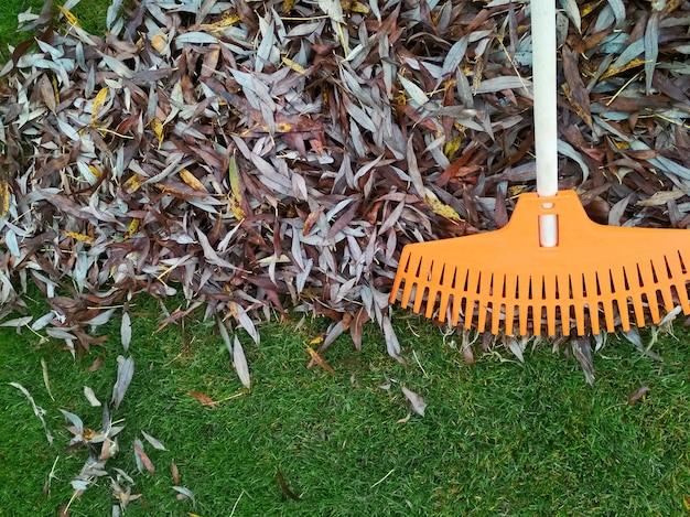 Pilha de folhas caídas com ventilador no gramado