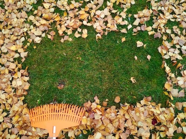 Pilha de folhas de outono com ventilador rake no gramado.