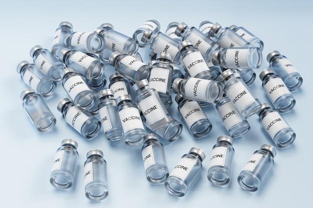Pilha de garrafas de vidro de ampolas de vacina com rótulo isolado em superfície brilhante, renderização em 3d