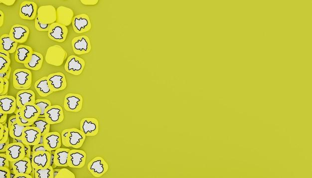 Pilha de ícone do snapchat 3d render ilustração branca simples e limpa