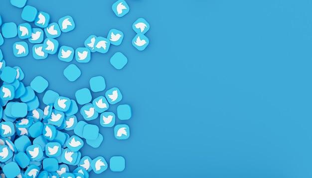 Pilha de ícone do twitter renderização em 3d, ilustração em branco simples