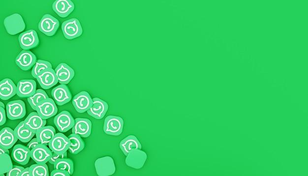 Pilha de ícone do whatsapp 3d render ilustração branca simples e limpa