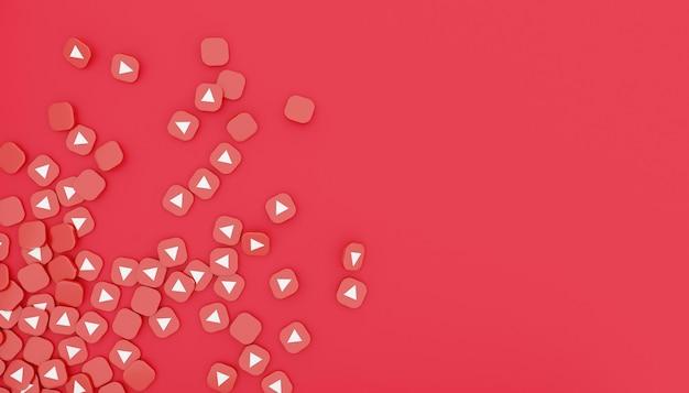 Pilha de ícone do youtube 3d render ilustração branca simples e limpa