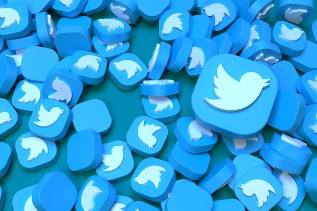 Pilha de ícones 3d do twitter