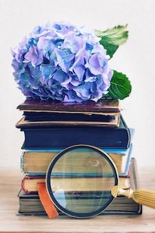 Pilha de livros antigos com flores azuis de hortênsia e vidros achados