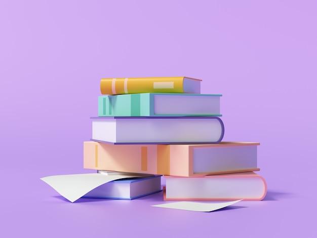 Pilha de livros e papel em roxo