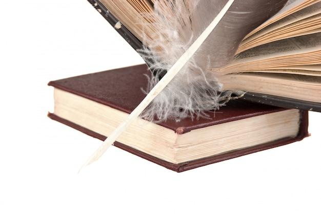 Pilha de livros e pena isolado no fundo branco