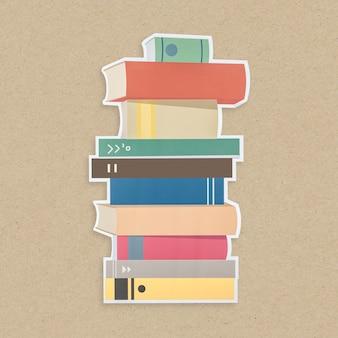Pilha, de, livros, ícone, isolado