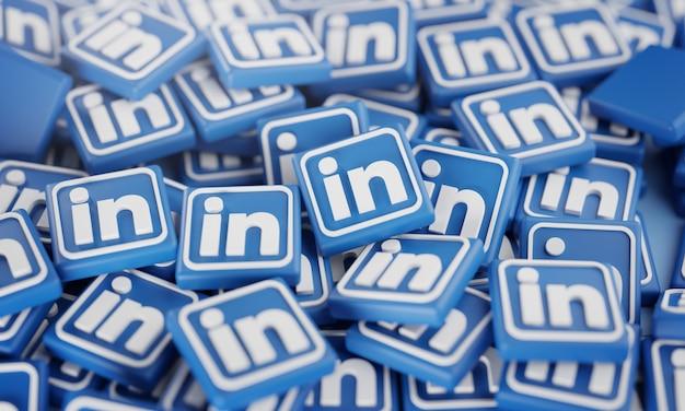 Pilha de logotipos 3d do linkedin