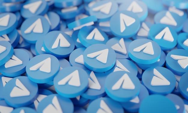 Pilha de logotipos de telegrama 3d