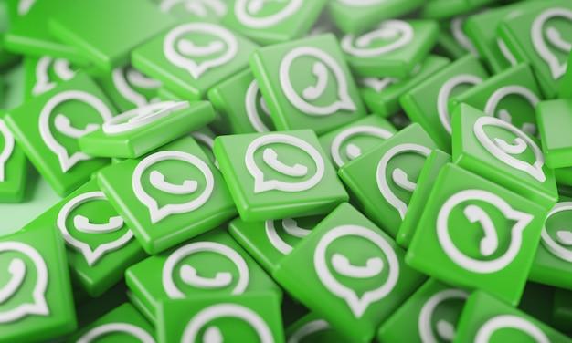 Pilha de logotipos do whatsapp em 3d