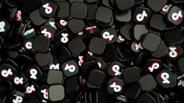 Pilha de logotipos tiktok e ícones grátis.