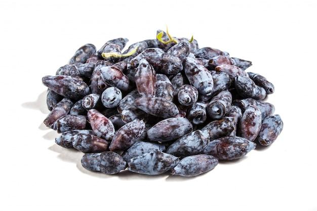 Pilha de madressilva azul (lonicera caerulea) ou baga haskap isolado
