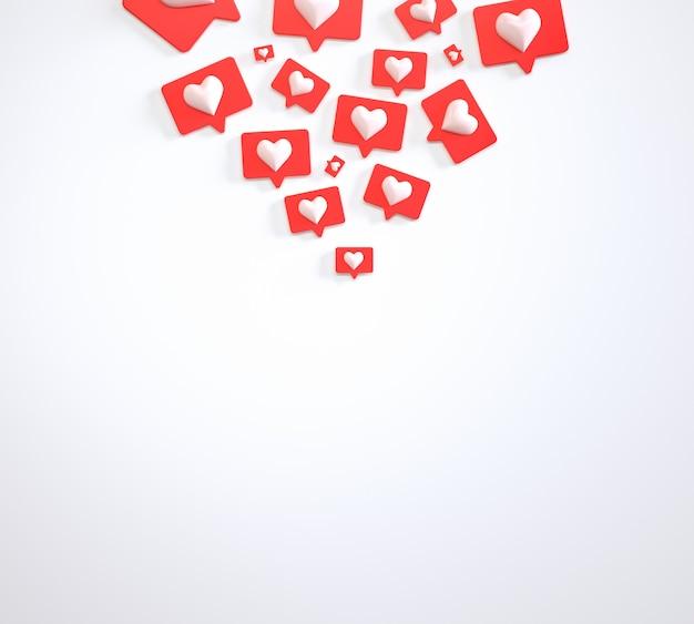 Pilha de marketing de mídia social de botões semelhantes renderização em 3d