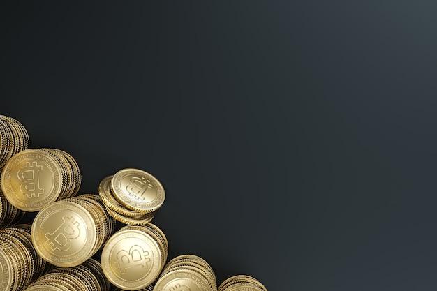 Pilha de modelos de moedas bitcoin douradas para troca de tokens do mercado de criptomoedas, promovendo o propósito de publicidade