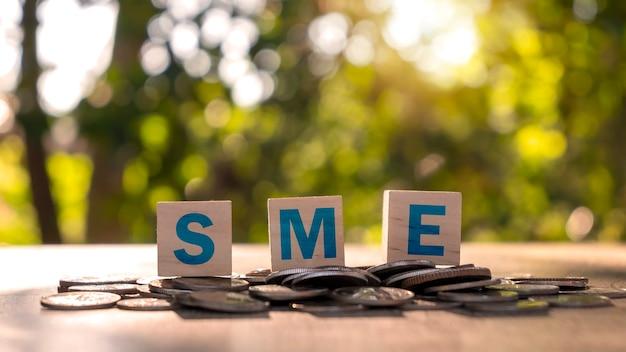 Pilha de moedas com o bloco de madeira com o texto pme e fundo verde desfocado, conceito de financiamento de investimento para pequenas e médias empresas