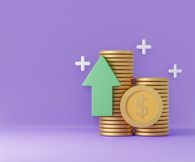 Pilha de moedas com seta para cima e sinal no fundo roxo. poupar dinheiro, sem dinheiro. ilustração 3d render.