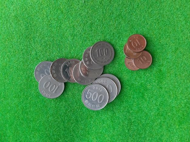 Pilha de moedas coreanas