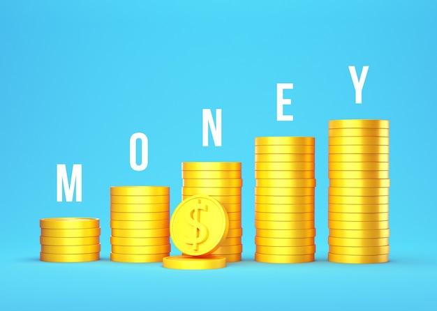 Pilha de moedas de ouro 3d em azul com dinheiro de texto