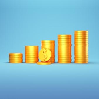 Pilha de moedas de ouro 3d em azul