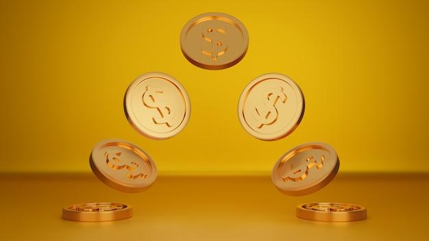 Pilha de moedas de ouro, banco comercial