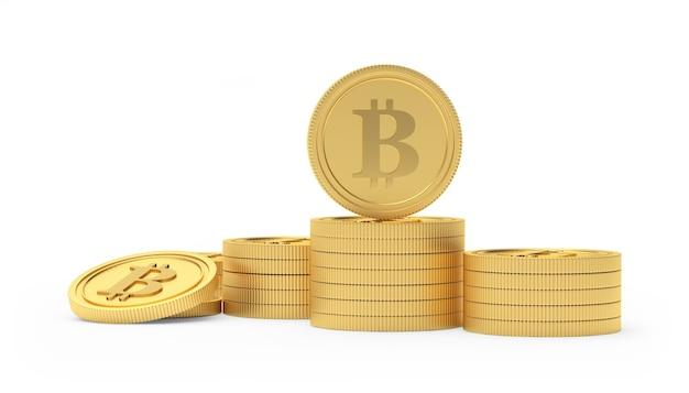 Pilha de moedas de ouro bitcoin