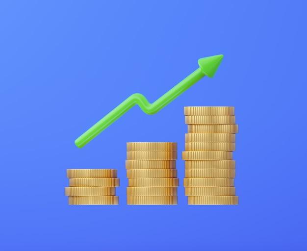 Pilha de moedas de ouro com crescimento de dinheiro de seta e conceito de investimento
