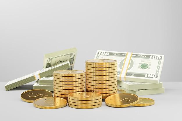Pilha de moedas de ouro com muitas notas de dinheiro em fundo branco. imagem da ilustração 3d.