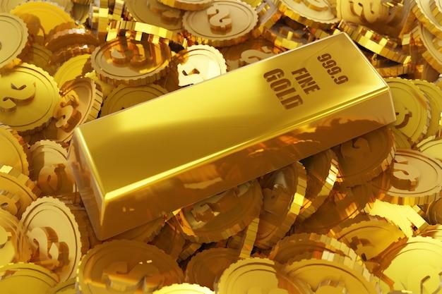 Pilha de moedas de ouro e barra de ouro