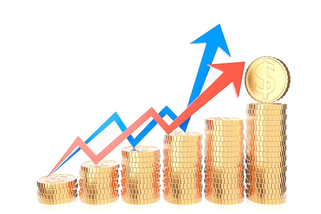 Pilha de moedas de ouro e gráfico de finanças em fundo branco