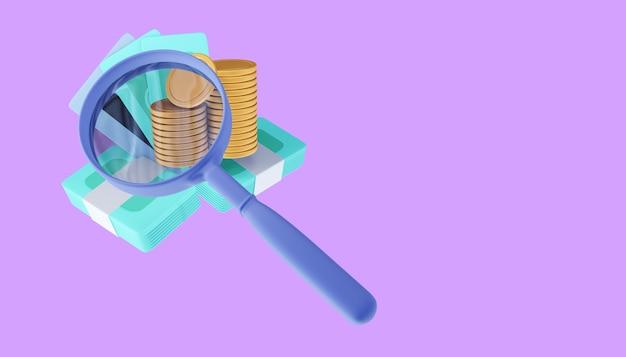 Pilha de moedas de ouro e lupa, ilustração de renderização 3d