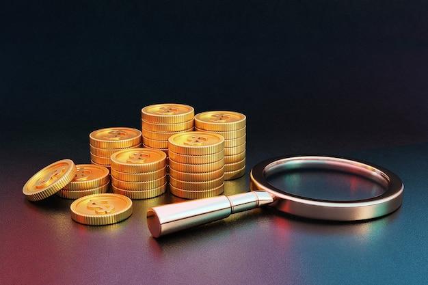 Pilha de moedas de ouro e lupa. renderização 3d.
