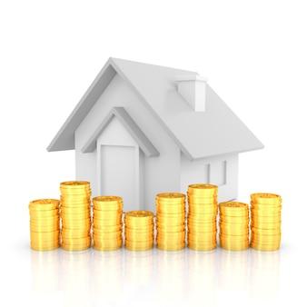 Pilha de moedas de ouro e modelo em casa. renderização em 3d.