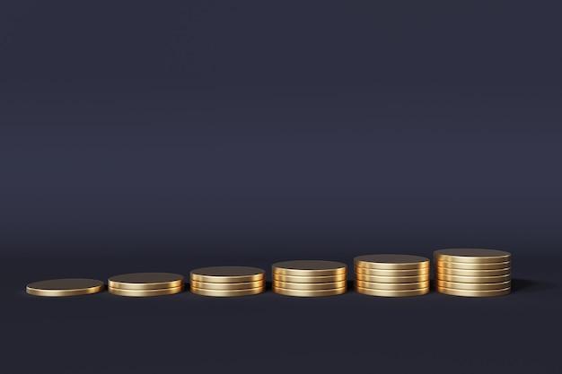 Pilha de moedas de ouro na cor azul