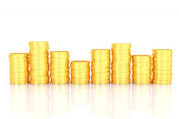 Pilha de moedas de ouro. renderização em 3d.