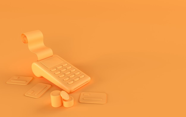 Pilha de moedas de ouro terminal pos com recibo de cartão de crédito renderização em 3d