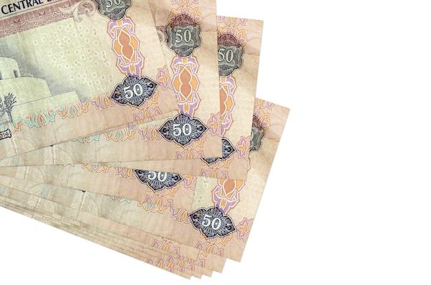 Pilha de notas de dirhams dos emirados árabes unidos
