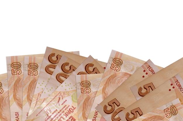 Pilha de notas de liras turcas