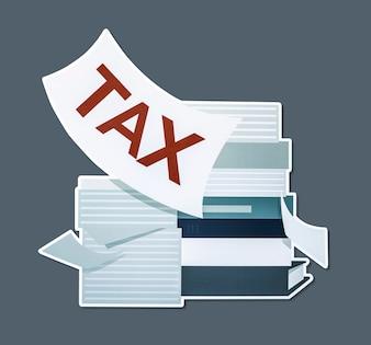 Pilha de papéis e ilustração do conceito de imposto