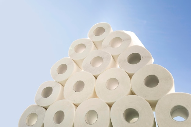 Pilha de papel higiênico pap
